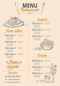 Digitaal restaurantmenu in verticaal formaat
