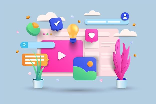 Digitaal scherm 3d-illustratie, videospeler, galerij, ontwikkeling, seo-analyseconcept met zwevende elementen. ontwikkeling bannerontwerp met 3d-rendering. vectorillustratie.