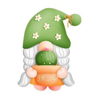 Digitaal schilderen aquarel cactus gnome element. plant en tuinieren vector.