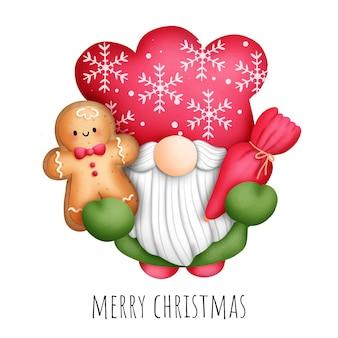 Digitaal schilderen aquarel kabouter kerstkoekjes islolated op witte achtergrond.