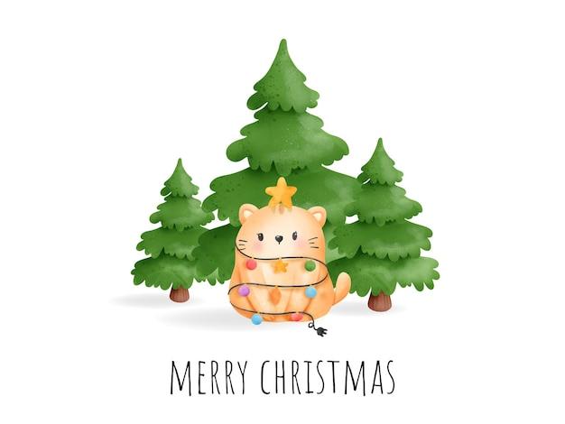 Digitaal schilderen aquarel meowy kerstkaart. kerst kat vector.