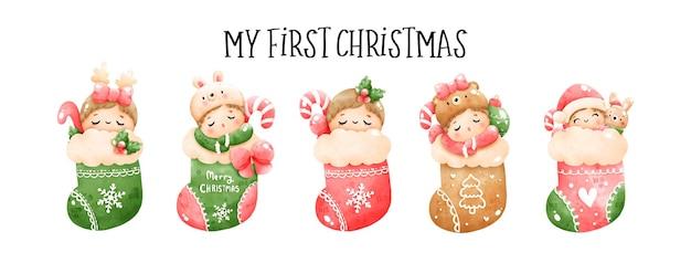 Digitaal schilderen aquarel mijn eerste kerst banner, kerst baby vector.