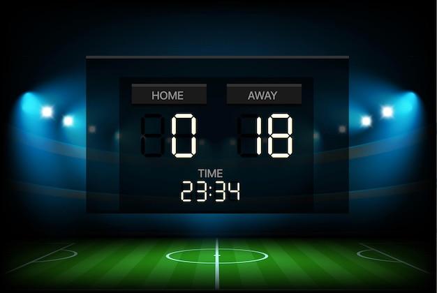Digitaal scorebord met stadionachtergrond