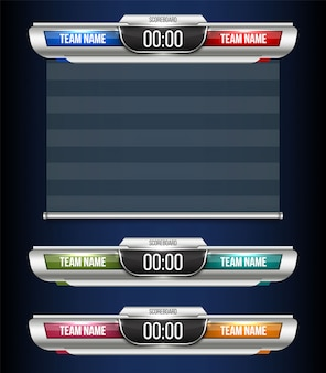 Digitaal scorebord sportuitzending grafisch ontwerp.