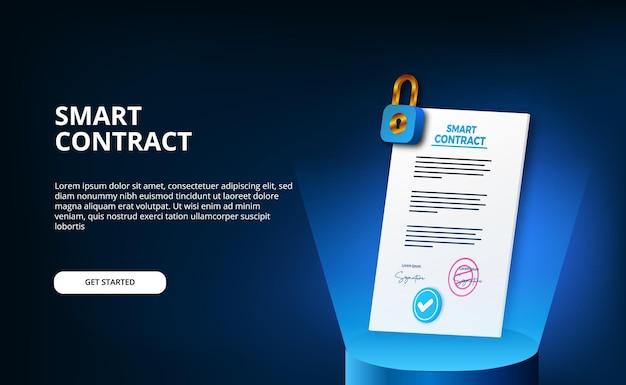 Digitaal slim contract voor beveiliging van elektronische ondertekeningsdocumenten, financiën, juridische zaken.