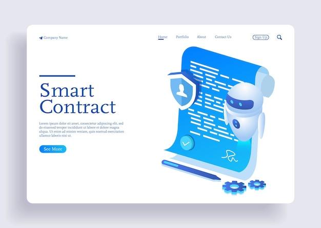 Digitaal slim contract voor elektronische handtekeningdocumentovereenkomst met ai robot