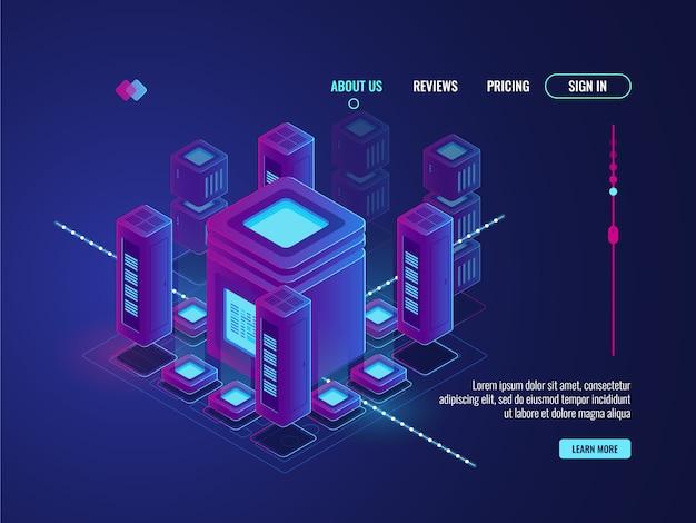 Digitaal smart city-concept, big data-overdracht en -verwerking, datacenter-magazijn