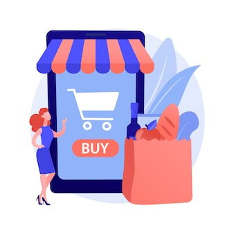 Digitaal supermarkt abstract concept Gratis Vector