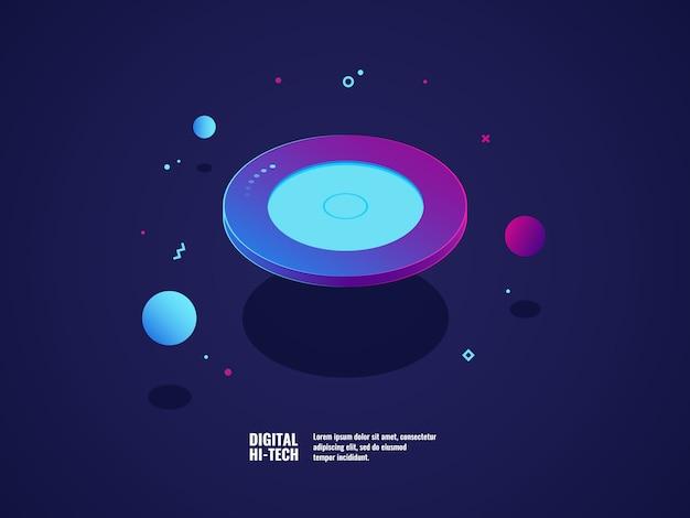 Digitaal technologieconcept, moderne ultraviolette banner, vliegend plaatvoorwerp