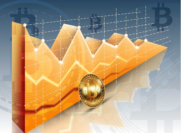 Digitaal vector bitcoin cryptocurrency realistisch grafiekdiagram