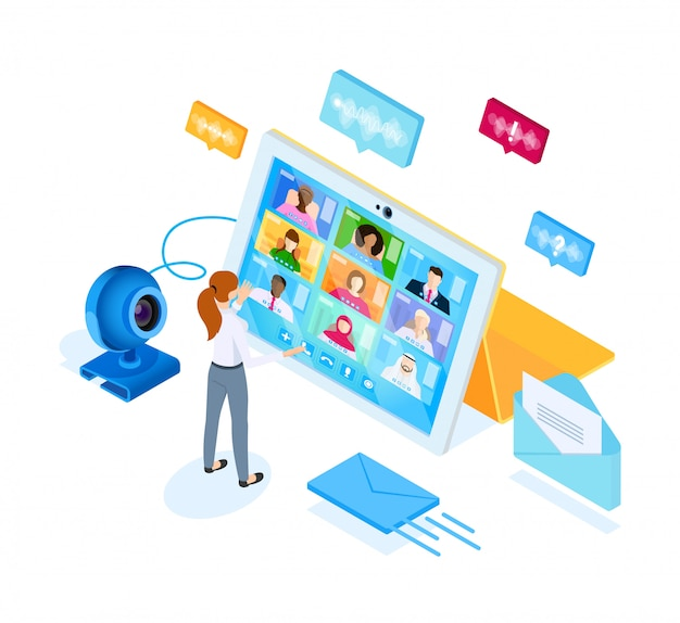 Digitaal videocommunicatieproces. illustratie in isometrische stijl.
