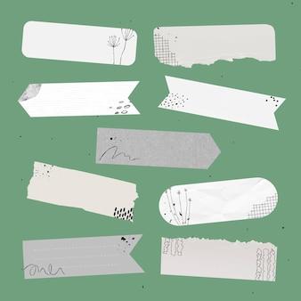 Digitaal washi-tape vectorelement ingesteld met memphis-tekening