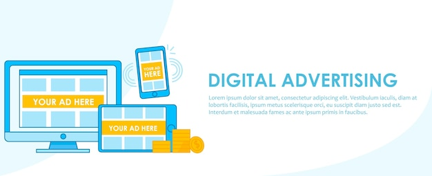 Digital advertising seo banner. computer, telefoon en tablet met adaptief ontwerp met advertenties