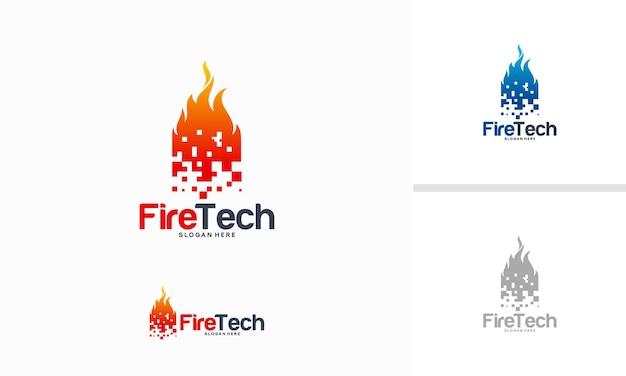 Digital fire logo-ontwerpconcept, pixel fire-logo-ontwerpsjabloon, flame-logo-ontwerpsymbool