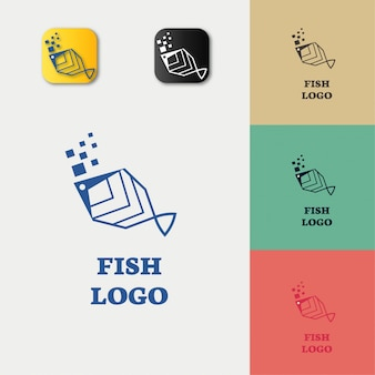 Digital fish-logo