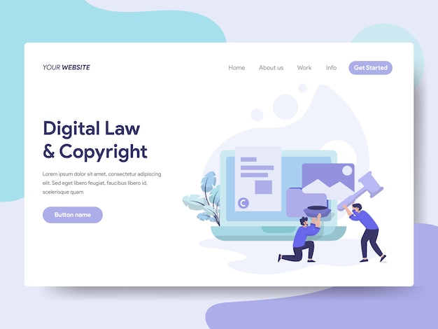 Digital law and copyright illustration