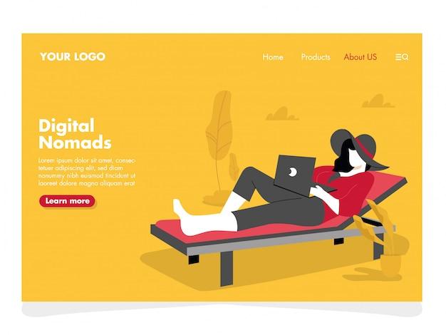 Digital nomads illustration voor landingspagina