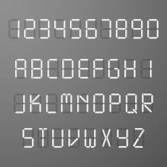 Digitale 3d-weergave tijd nummers en letters vector set