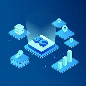 Digitale 5g vijfde generatie technologie illustratie
