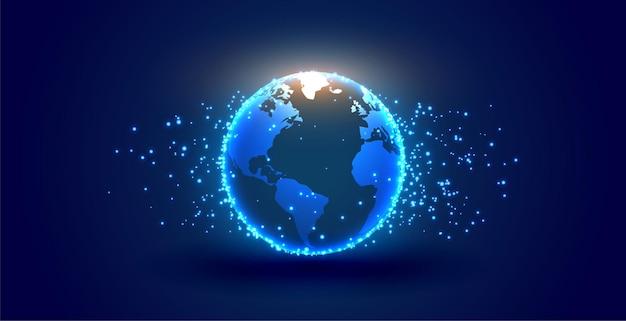 Digitale aarde met deeltjesachtergrond