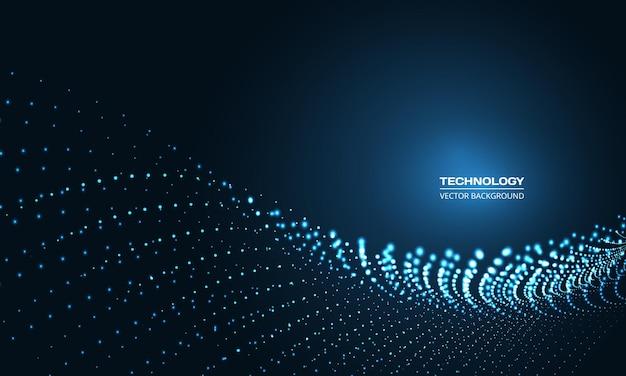 Digitale abstracte technologie deeltje golf op donkerblauwe achtergrond