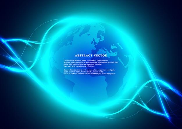 Digitale abstracte wereldbol met heldere golven elementen