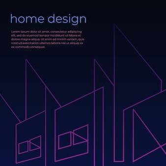 Digitale achtergrond met huisarchitectsamenvatting