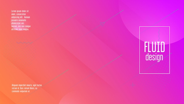 Digitale achtergrond. platte bestemmingspagina. heldere pagina. vloeibare vorm. horizontale afbeelding. golvende minimale poster. vloeiende website. roze kunststof spandoek. violette digitale achtergrond