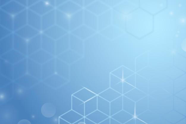 Digitale achtergrondvector in blauwe kleur met kubuspatronen