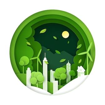 Digitale ambachtelijke stijl van natuurlandschap, groen milieuvriendelijk stadsconcept.