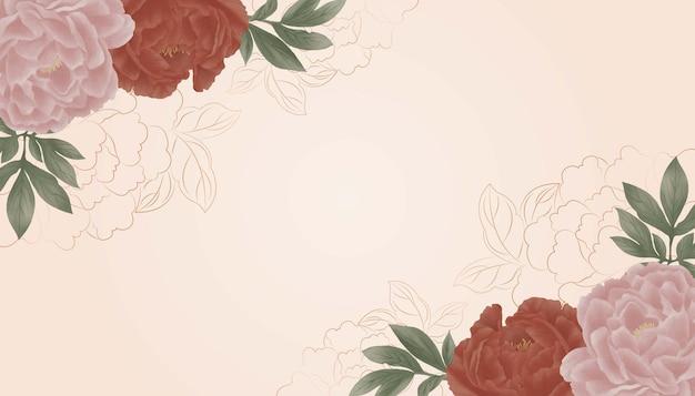 Digitale aquarel vintage illustratie, roze pioenrozen frame lay-out voor wenskaart.