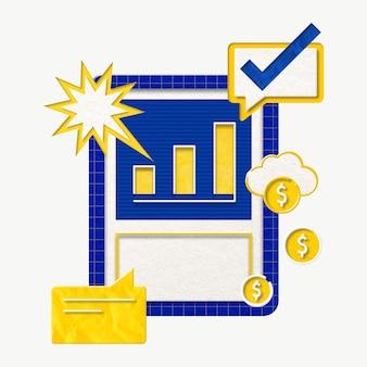 Digitale bedrijfsgroeivector met grafische staafdiagram