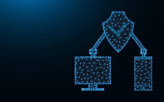Digitale bescherming gemaakt van punten en lijnen op donkerblauwe achtergrond, cybersecurity draadframe mesh veelhoekige illustratie