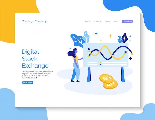 Digitale beurs vectorachtergrond voor website.