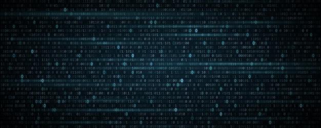 Digitale binaire softwarecode achtergrond met gloeiend effect. veilig gegevensconcept. digitale data technologie concept. willekeurige getallen 0 en 1. vectorillustratie