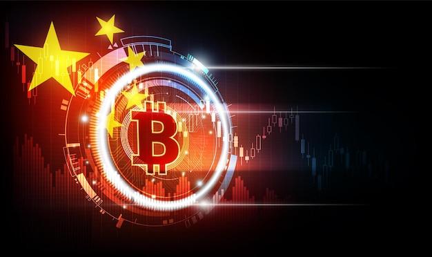Digitale bitcoin-valuta met chinese vlagachtergrond chinese regelgevers verbieden cryptohandel en mijnbouw