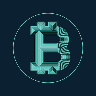 Digitale bitcoin valuta symbool vector ontwerp