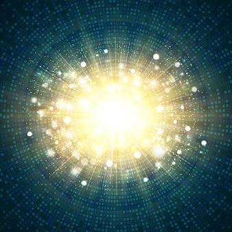 Digitale blauwe technologie vierkante cirkel van goud glitter burst center achtergrond