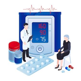 Digitale bloeddruk meetinstrument monitor tonometer isometrische samenstelling met arts die hypertone patiënt pillen illustratie voorschrijft