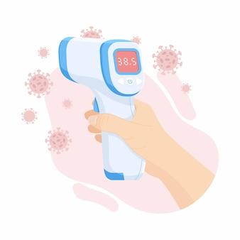 Digitale contactloze infraroodthermometer. medische thermometer die de lichaamstemperatuur meet. plat ontwerp.