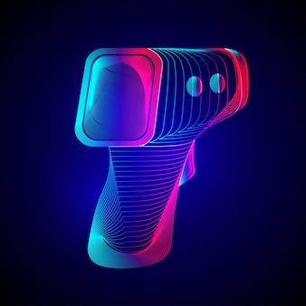 Digitale contactloze infraroodthermometer. overzicht van elektronisch temperatuurpistool in 3d-lijnstijl op neon abstracte achtergrond