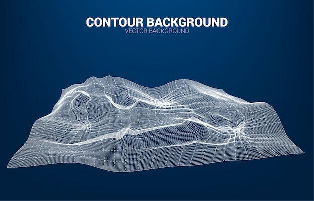 Digitale contourlijn en golf met draadframe. 3d futuristisch technologieconcept