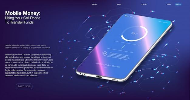 Digitale controle. isometrische vectorillustratie smartphone met creditcard.