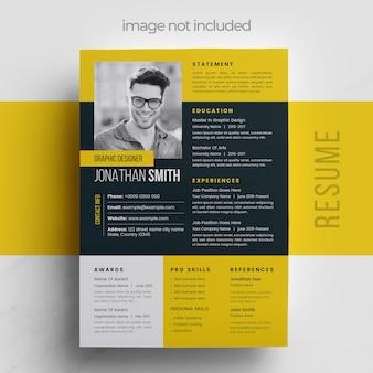 Digitale cv-sjabloon voor sollicitatie met gele accenten