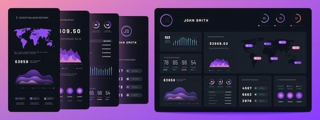 Digitale dashboards. mobiele zakelijke staafdiagram en histogram, economisch diagram en cirkeldiagrammen. marketing infographics vector-elementen