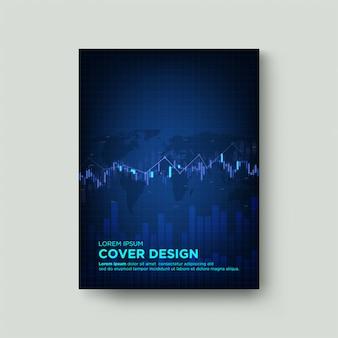 Digitale dekking handel. met een illustratie van een blauwe wasgrafiek op en neer op een donkerblauwe achtergrond.