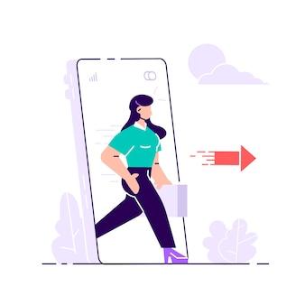 Digitale detox. vrouw die uit het enorme scherm van de mobiele telefoon stapt. ontsnappen aan smartphone