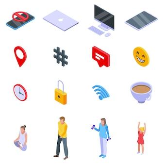 Digitale detoxing iconen set, isometrische stijl