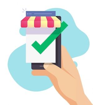 Digitale e-commerce winkel voor smartphones als geverifieerde winkel en goedgekeurde winkel