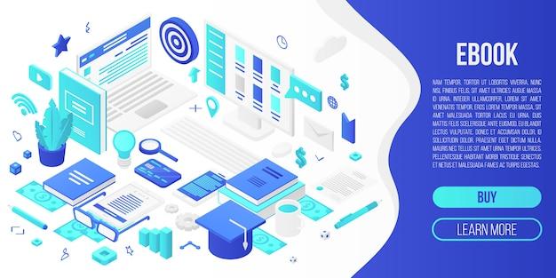 Digitale ebook concept banner, isometrische stijl